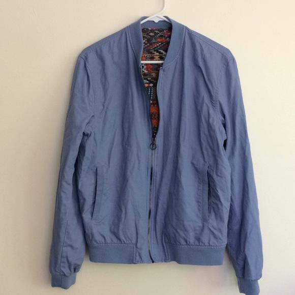 Men's reversible light blue tribal bomber jacket